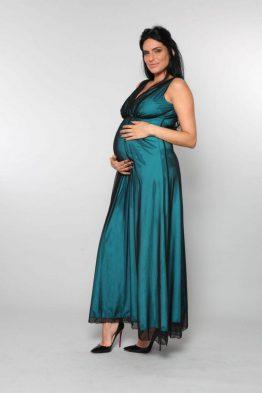 שמלת סוזנה משולשים – שחור על טורקיז