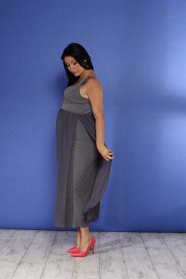 שמלת שיפון מקסי הריון/הנקה – אפור